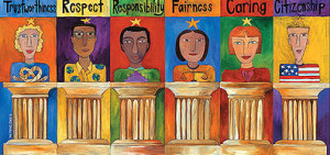 six pillars of character: Trustworthiness, Respect, Responsibility, Fairness, Caring, and Citizenship